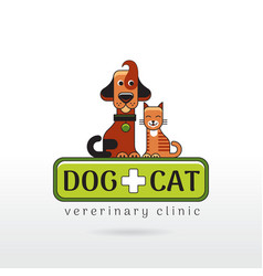 linear of funny dog and cat on vector image vector image