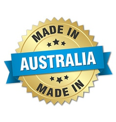 Made in australia gold badge with blue ribbon vector
