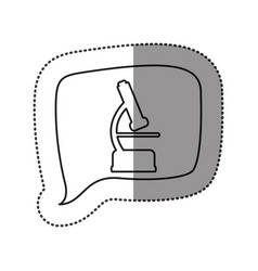 monochrome contour sticker with microscope icon in vector image vector image
