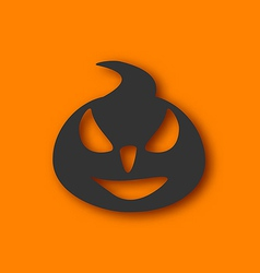 Paper pumpkin with an evil expression on his face vector image vector image