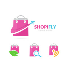 Shop and plane logo combination sale vector
