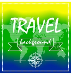 Summer Travel Background with world map and vector image vector image
