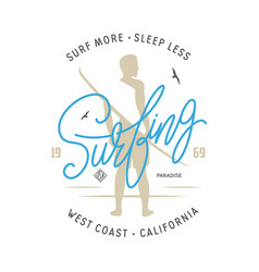 surfing related lettering t-shirt design vector image