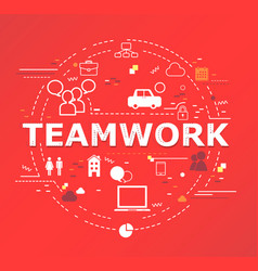 Teamwork word lettering vector