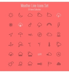 Weather line thin icons vector