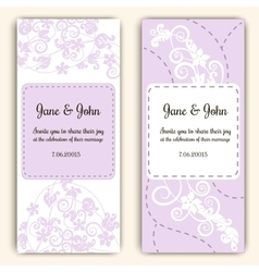 Wedding cards in pink with swirls and flowers vector