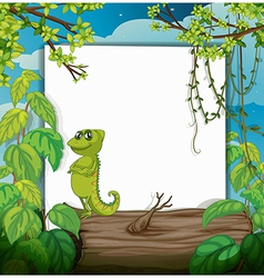 A smiling chameleons and a white board vector image