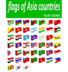 Flags of asia countries flat icons vector