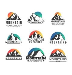 Hand drawn Mountains Logo set Ski Resort vector image