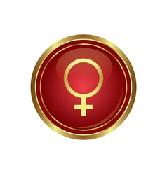 Golden round button with female symbol vector