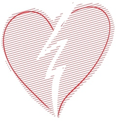 Red broken heart vector
