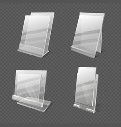 Display tables transparent plastic sheets vector