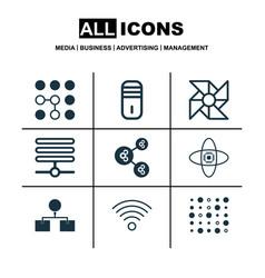 Set of 9 robotics icons includes computing vector