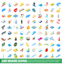 100 miami icons set isometric 3d style vector image