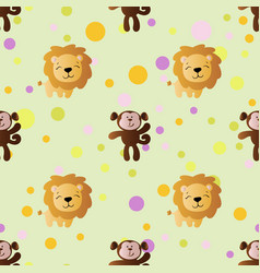 cartoon cute toy baby monkey lion and circles vector image