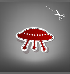 Ufo simple sign  red icon with for vector