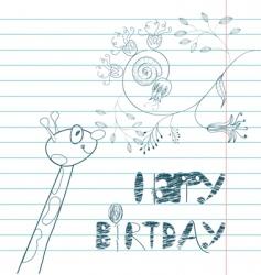 inscription happy birthday with giraffe vector image