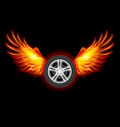 Wheel with fire wings on black vector