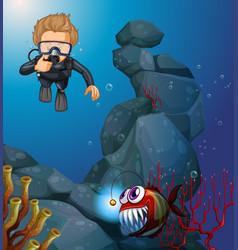 Diver diving in deep blue sea vector