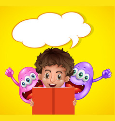 Boy reading book with two monsters vector