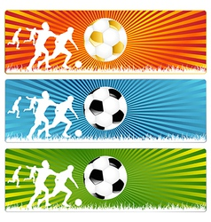 3 soccer ball or football banners vector