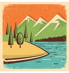 Vintage nature mountains landscape vector
