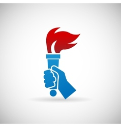 Victory Flame Symbol Hand Hold Fire Torch Icon vector image
