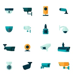 Security camera icon flat vector