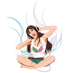 Woman listening headphones vector