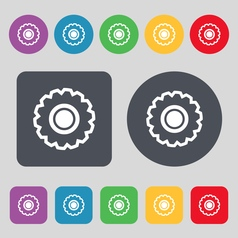 Cogwheel icon sign a set of 12 colored buttons vector