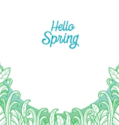 Hello spring text with grass in outline background vector
