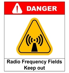 Danger banner radio frequency field in yellow vector