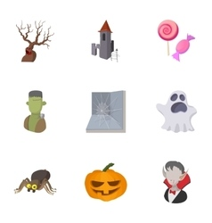 All hallows evening icons set cartoon style vector