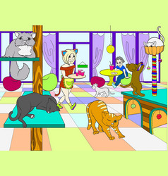 Beautiful interior of modern cat cafe for people vector