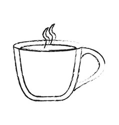 Blurred silhouette image cartoon cup of coffee vector