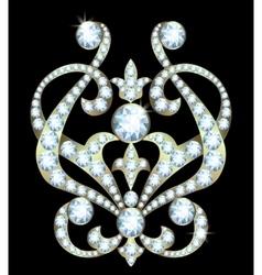 Brooch with diamonds vector