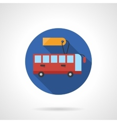 Bus for rent round flat color icon vector image vector image