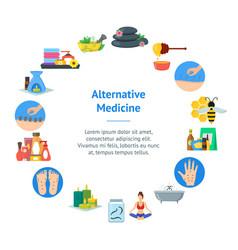 Cartoon alternative medicine banner card circle vector