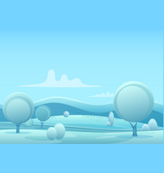 Cartoon snowy winter game style landscape vector