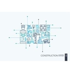 Construction integrated thin line symbols vector
