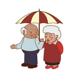 Couple elder adults umbrella vector
