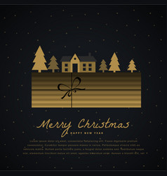 Elegant christmas greeting with gift box house vector