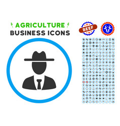 Farmer boss rounded icon with set vector