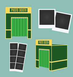 Flat and 3d photo booth icon infographic element vector