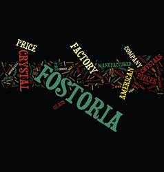 Fostoria crystal text background word cloud vector