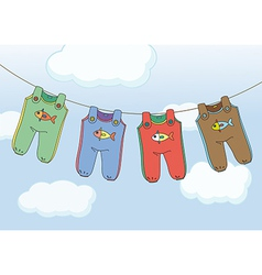 Four jumpsuits hanging vector