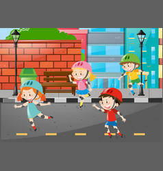 Four kids rollerskate on the road vector