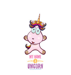 funny cartoon cute pink fairy unicorn vector image