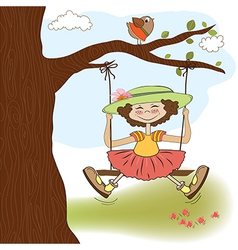 Funny girl in a swing vector