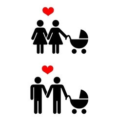Gay family with children icons over white vector